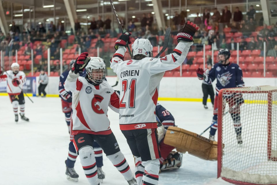 Fischer O'Brien (#21) celebrates a goal in front of the Kin Centre crowd against the Greater Vancouver Canadians in a 2019 playoff game (via Cariboo Cougars)