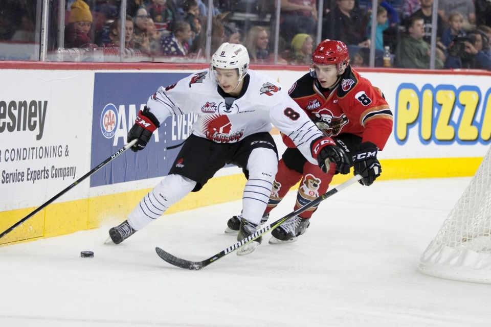 Justin Almeida, now with the Moose Jaw Warriors, was traded from the Prince George Cougars in Jan. 2017 (via Twitter/The WHL)