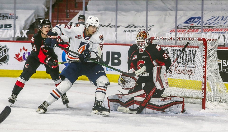 Prince George Cougars' Taylor Gauthier (#35) matched his jersey number in making 35 saves on 40 shots from the Kamloops Blazers on April 14, 2021, during the 2020-21 B.C. Division season.