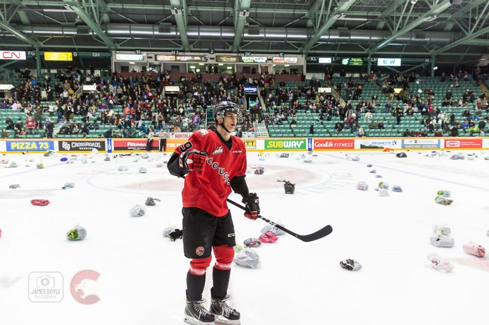 Prince George Cougars' Vladislav Mikhalchuk scored the goal that sent winter items over the CN Centre glass for Teddy Bear and Toque Toss Night 2018 (via Prince George Cougars)