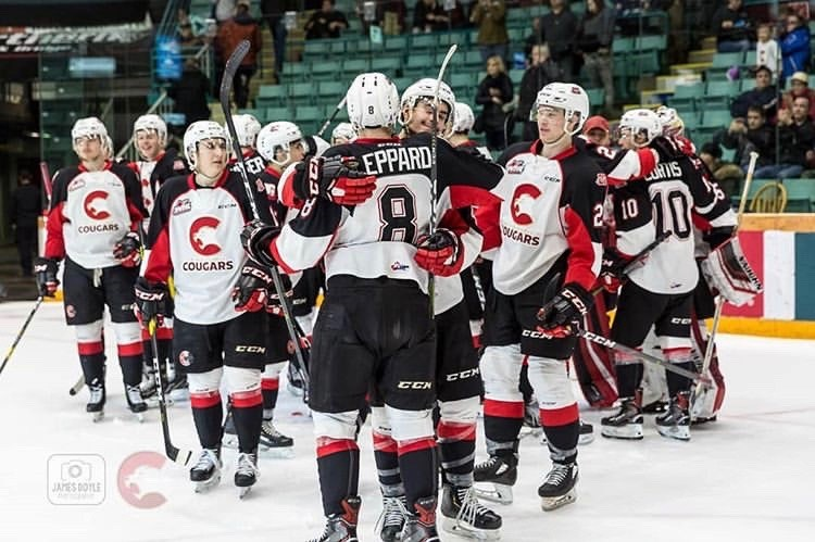 Prince George Cougars celebrate their first home win since Jan. 12, snapping a 13-game drought against the Portland Winterhawks (via Prince George Cougars/James Doyle Photography)