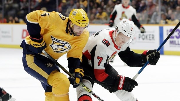 Prince George Cougars' alumni and co-owner Dan Hamuis in NHL action with the Nashville Predators against the Ottawa Senators. (via The Canadian Press)