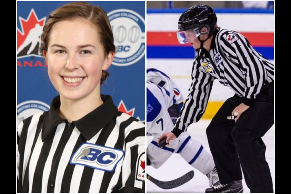 Grace Barlow (left) and Danika Kroeker are referees from Prince George (via BC Hockey/Garrett James Photography/Kyle Balzer)