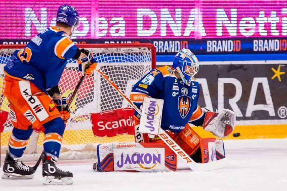Michael Garteig of Prince George is a goaltender in European hockey, seen here with Tappara in Finland's elite league. (via Tappara)