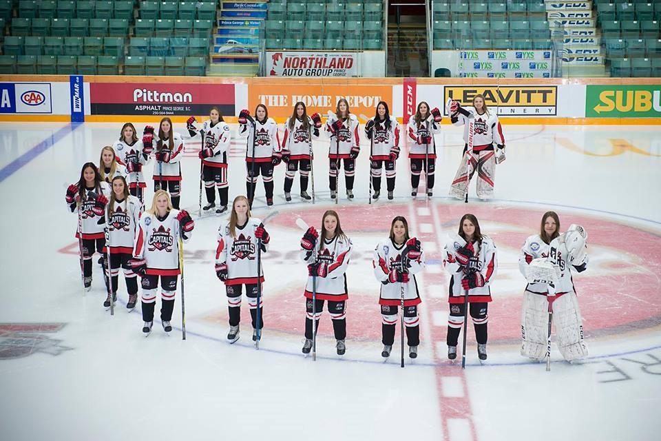 Prince George's 2018-19 Northern Capitals Female Midget 'AAA' hockey team (via Northern Capitals)