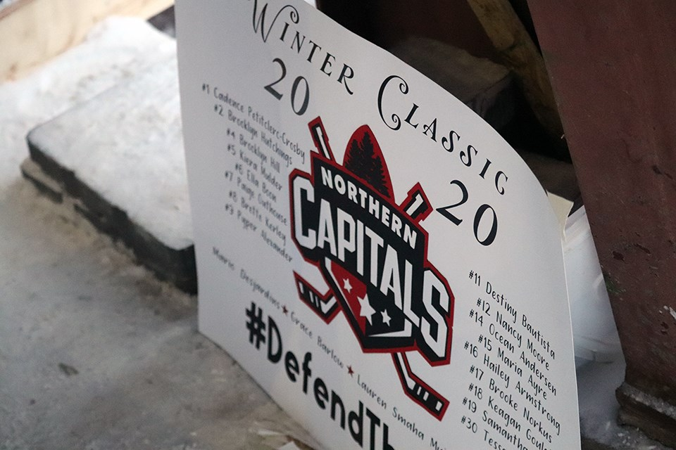Northern Capitals hosted the Greater Vancouver Comets in the first ever female midget AAA outdoor hockey game at Ernie Sam Arena in Fort St. James (via Kyle Balzer)
