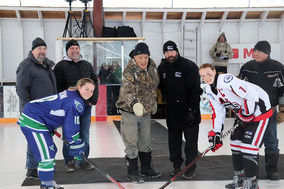 Port Moody's Jenna Buglioni (#10) is seen here with the Greater Vancouver Comets during the ceremonial puck-drop of the 2020 BC Winter Classic in Nak'azdli Whut'en/Fort St. James against the Northern Capitals. | Kyle Balzer for Glacier Media