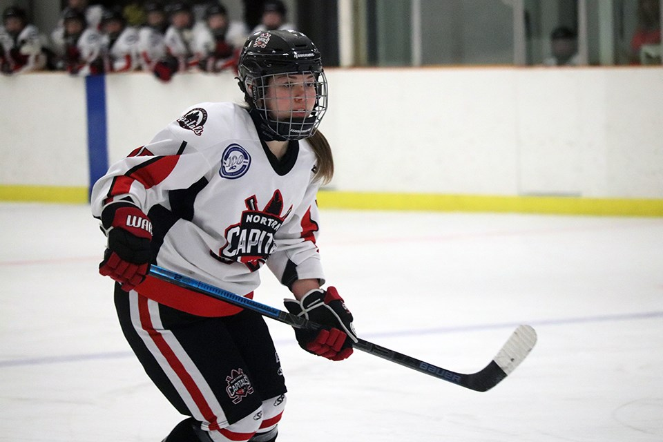 Maria Ayre (#15) skates for the Northern Capitals in their final 2019-20 weekend series played on home ice against the Fraser Valley Rush (via Kyle Balzer)