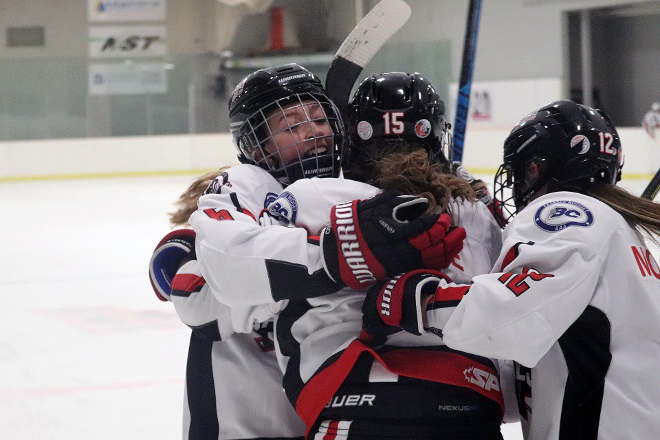 The Northern Capitals celebrate a goal against the Vancouver Island Seals (via Kyle Balzer)