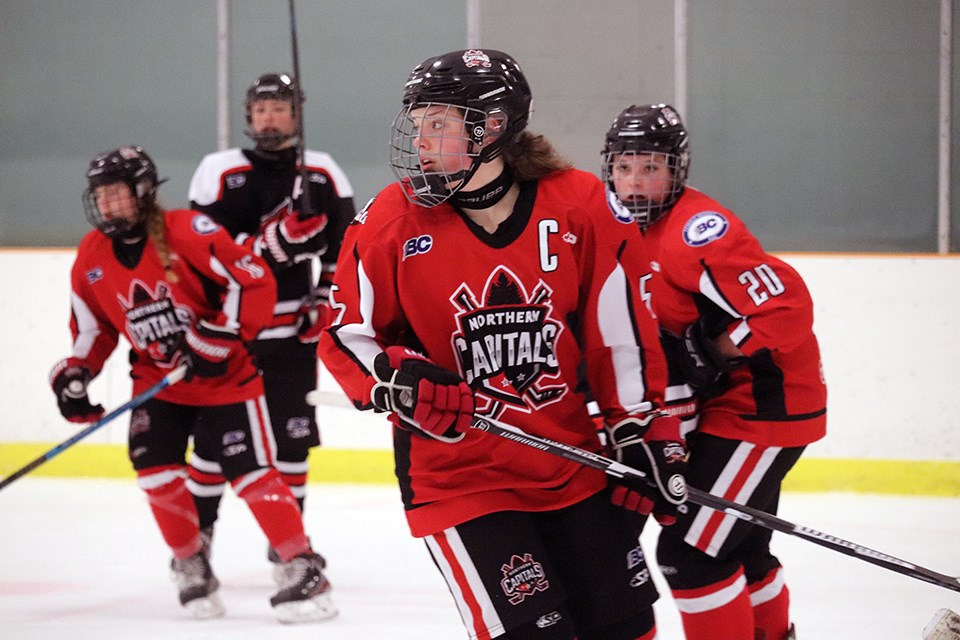 Northern Capitals' Captain Kiera Mulder (#5) in action during a cohort game against North Central Under-15 AA Bobcats. (via Kyle Balzer, PrinceGeorgeMatters)