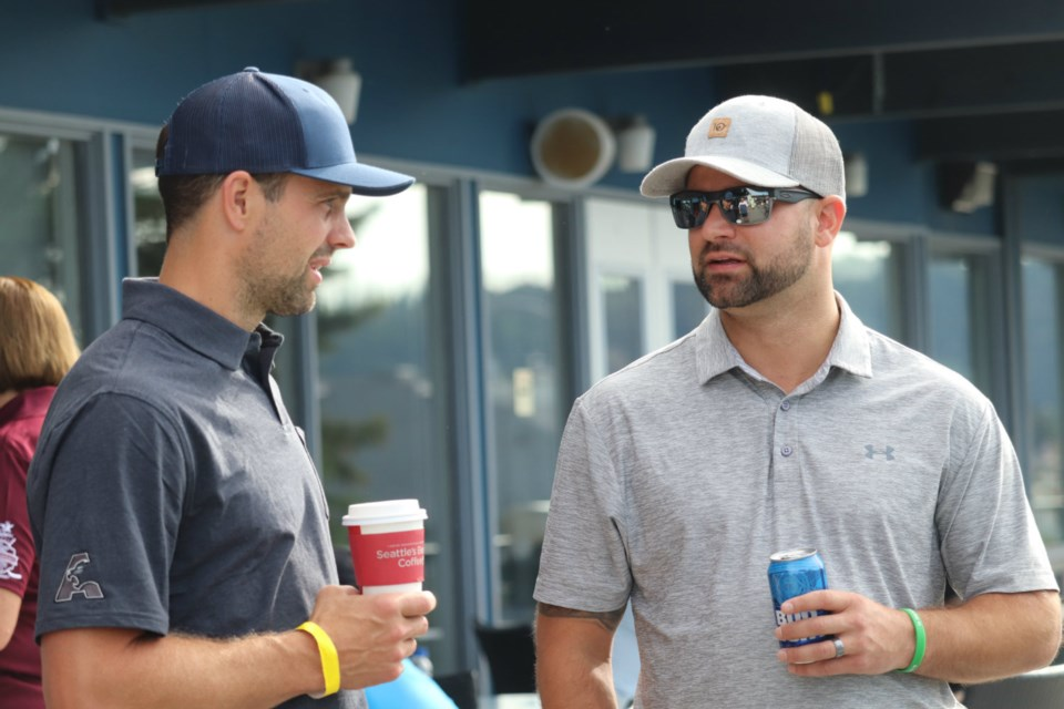 Dan Hamhuis (left), current NHL defenceman, part-owner and alumni of the Prince George Cougars, attended the team's 2019 charity golf tournament (via Kyle Balzer)