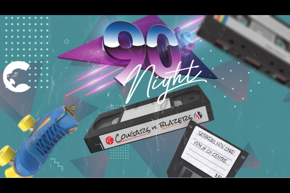 Prince George Cougars are hosting a 90s Night feature game against the Kamloops Blazers on Saturday, Nov. 23, 2019 (via Prince George Cougars)