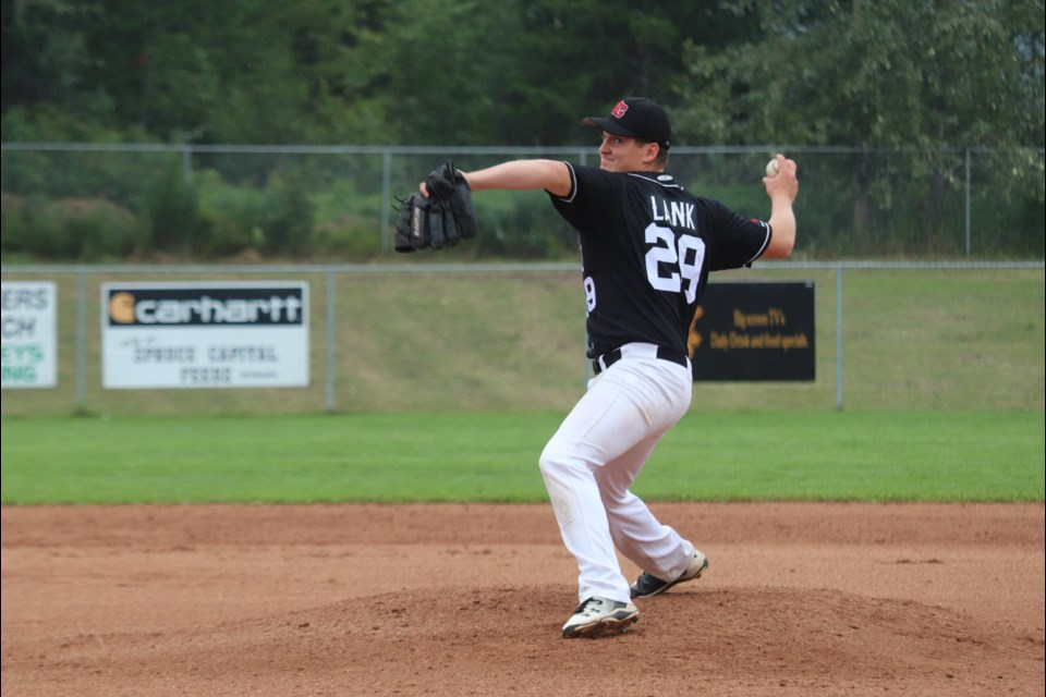 Noah Lank (#29) pitches for the Prince George Bantam AA Knights at Nechako Park against Vancouver (via Kyle Balzer)
