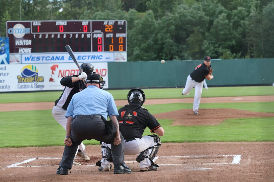 JRJ Construction Orioles' pitcher Jon Bourassa (#42) on the mound in Prince George Senior Men's Baseball action (via Kyle Balzer)