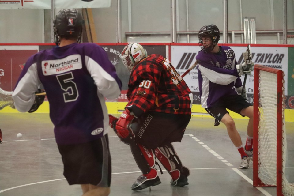 Northland Nissan Assault against the Mackenzie Lumberjacks in 2019 Prince George Senior Lacrosse playoffs (via Kyle Balzer)