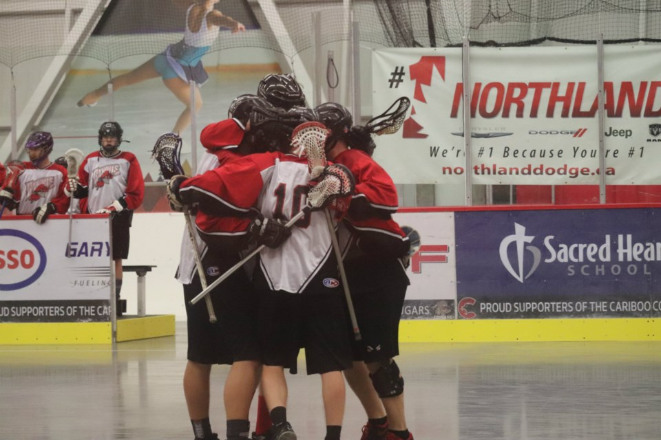 RPR Mechanical/JR Construction Bandits celebrate a goal during the 2019 playoffs in Prince George Senior Lacrosse (via Kyle Balzer)
