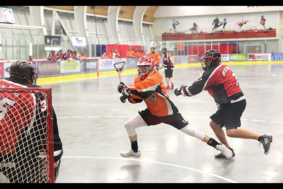 Westwood Pub Devils against the RPR Mechanical/BX Pub Bandits at Kin Centre in Prince George (via Facebook/Prince George Senior Lacrosse)