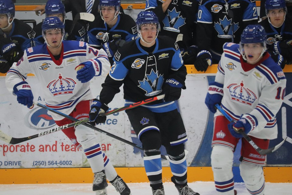 Tristan Amonte (#28), son of Tony Amonte, plays for the Penticton Vees seen here in action against the Prince George Spruce Kings (via Kyle Balzer)