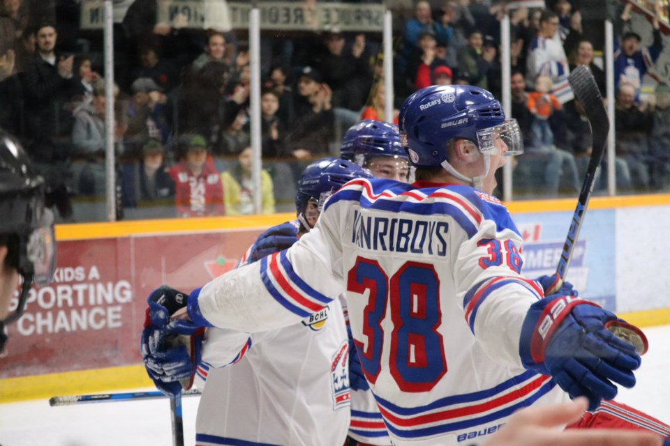 Lucas Vanroboys (#38) elated with excitement after scoring the first goal of Game Three for the Prince George Spruce Kings against Chilliwack in the 2019 playoffs (via Kyle Balzer)