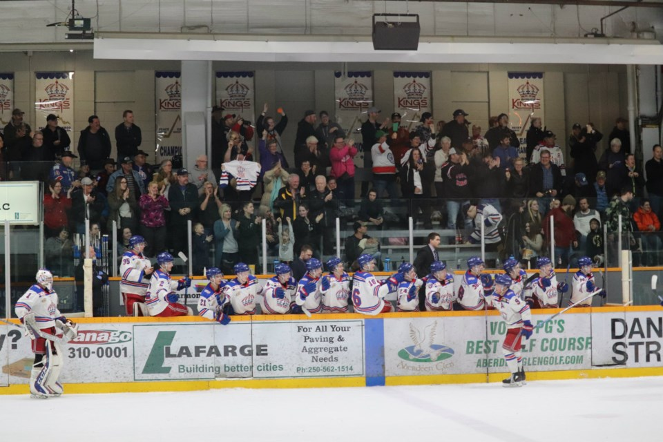 Dustin Manz (#9) celebrates with his Prince George Spruce Kings teammates after scoring a playoff goal against Chilliwack (via Kyle Balzer)