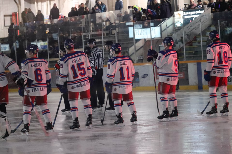Prince George Spruce Kings on home ice ahead of the first game of the 2019 BCHL Playoffs (via Kyle Balzer)