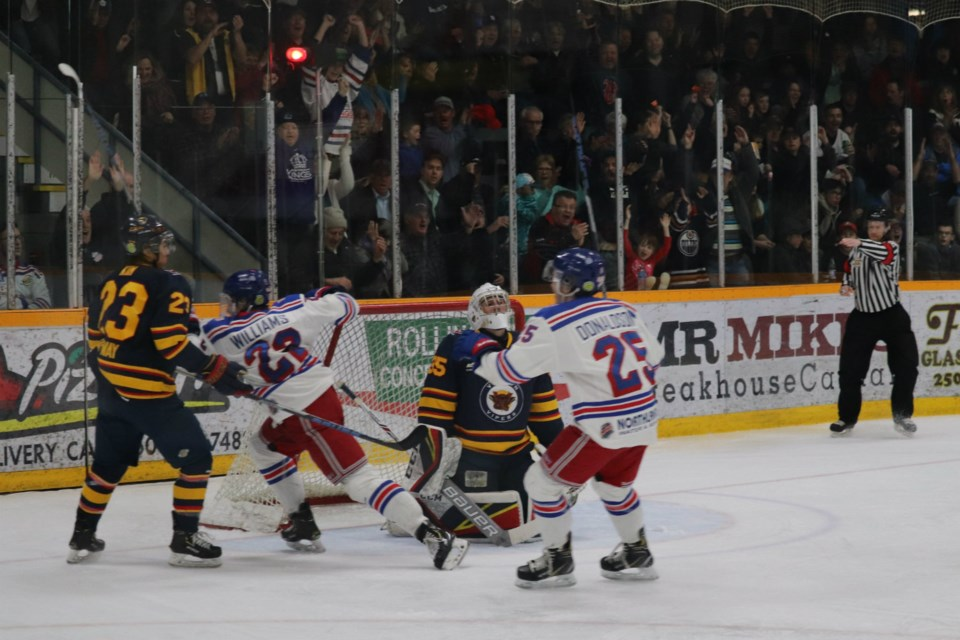Fin Williams (#22) erupts in celebration after scoring his first career BCHL goal; it was the eventual Game Two-winner for the Prince George Spruce Kings over Vernon in the 2019 Fred Page Cup Finals (via Kyle Balzer)