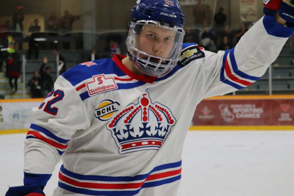 Fin Williams (#22) was named Game Two's Energy Player of the Game for the Prince George Spruce Kings in the 2019 Fred Page Cup Finals (via Kyle Balzer)