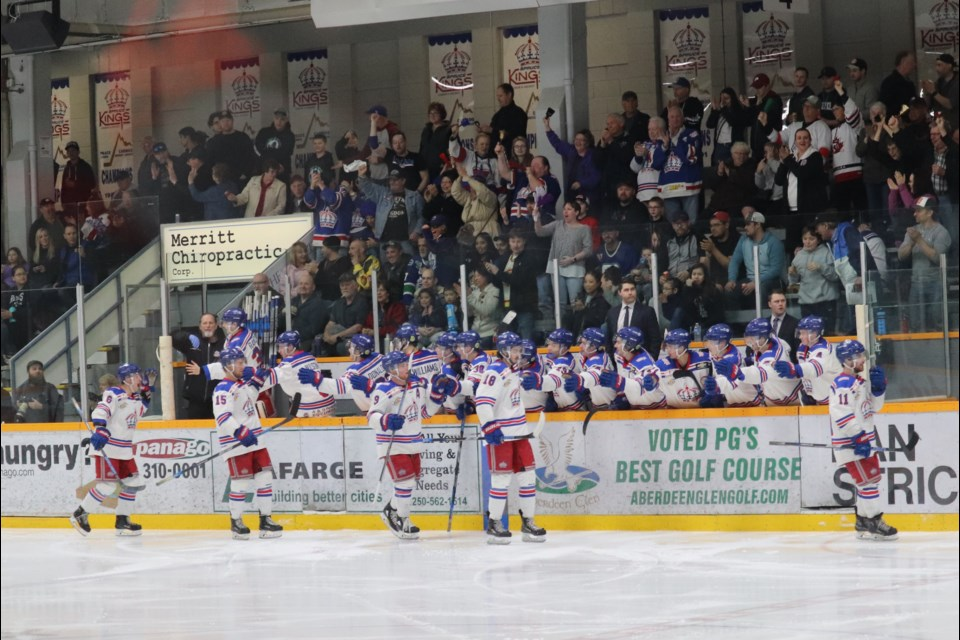 Prince George Spruce Kings celebrate a playoff goal during a game against the Victoria Grizzlies at the Rolling  Mix Concrete Arena (via Kyle Balzer)