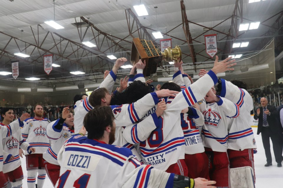Prince George Spruce Kings swarm Captain Ben Poisson and the Doyle Cup (via Kyle Balzer)
