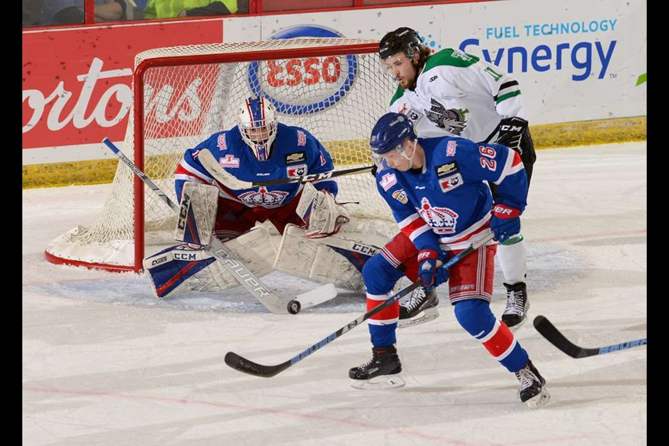 Prince George Spruce Kings netminder Logan Neaton (#1) was between the pipes against the Portage Terriers at the 2019 National Championships (via Hockey Canada/Matthew Murnaghan)