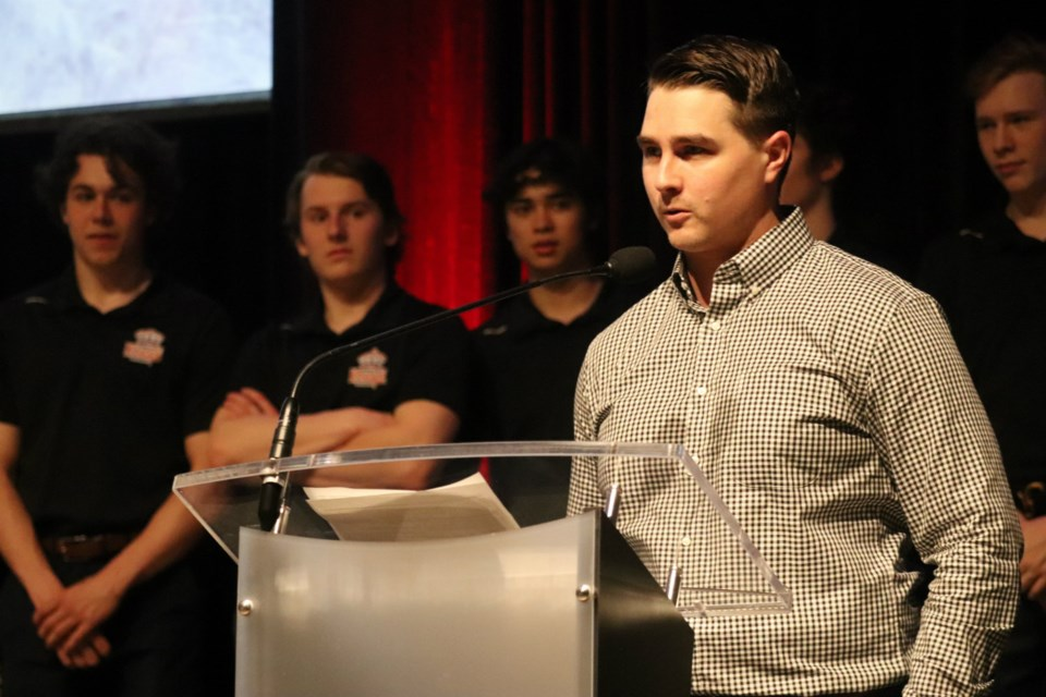 Prince George Spruce Kings Head Coach Adam Maglio speaking at the team's season-end celebration at the Civic Centre (via Kyle Balzer)