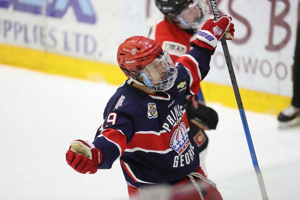 Prince George Spruce Kings' Christian Buono (#19) scores a goal against Merritt while rockin' the reverse retro jersey during the 2020-21 BCHL pod season.