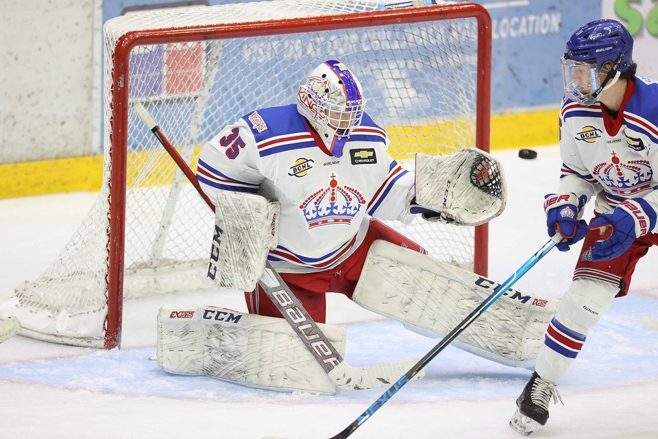 Prince George Spruce Kings' Aaron Trotter (#35) makes a save against the Chilliwack Chiefs during the 2020-21 BCHL pod season.