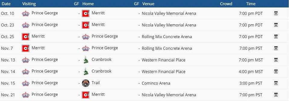 Spruce Kings 2020 exhibition schedule - BCHL