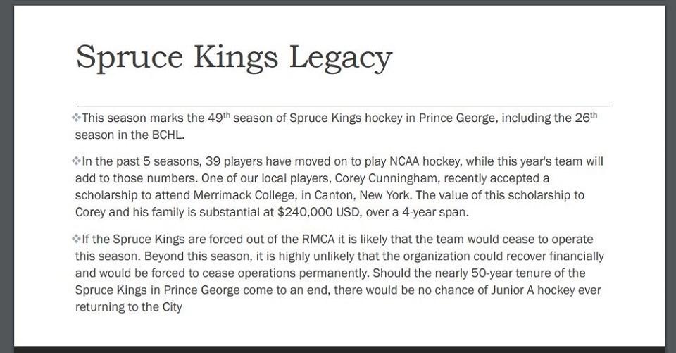 Spruce Kings city presentation - Oct. 5, 2020
