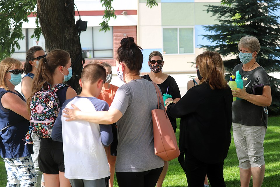 Members of Prince George winter sports community are gathered at city hall on July 27, 2020, voicing their concerns of closing arenas for an extended period of time. (via Kyle Balzer, PrinceGeorgeMatters)