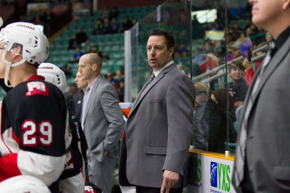 Richard Matvichuk behind the bench at the CN Centre (via Facebook/Prince George Cougars