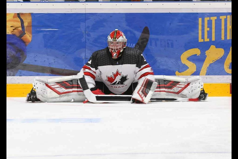 Taylor Gauthier representing the Prince George Cougars on Canada's National Under-18 team at Worlds (via Chris Tanouye/HHOF-IIHF Images)