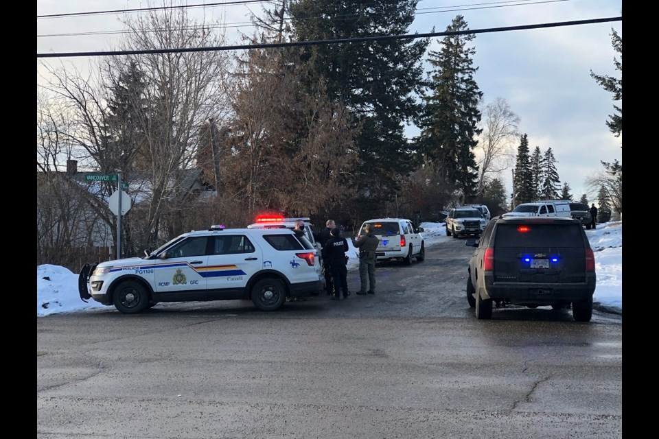 Prince George RCMP called in the North District Emergency Response Unit to assist with a standoff at 11 Avenue and Vancouver Street on Jan. 6, 2021.