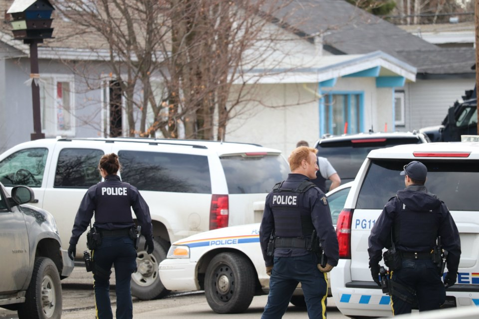 Police officers tending to situation on Tamarack Street in Prince George (via Kyle Balzer)