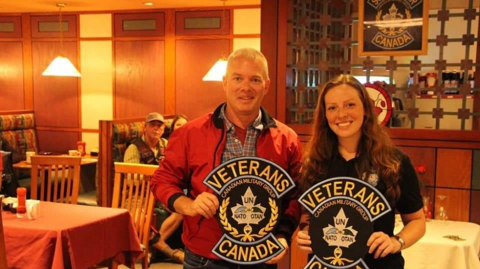 Sub-Lt. Abbigail Cowbrough with her father Shane Cowbrough. (via Facebook/Submitted)