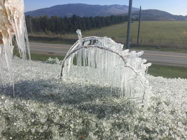 Okanagan College quickly became a frozen wonderland after its sprinkler system was left on. (via Jody Dean/Contributed)