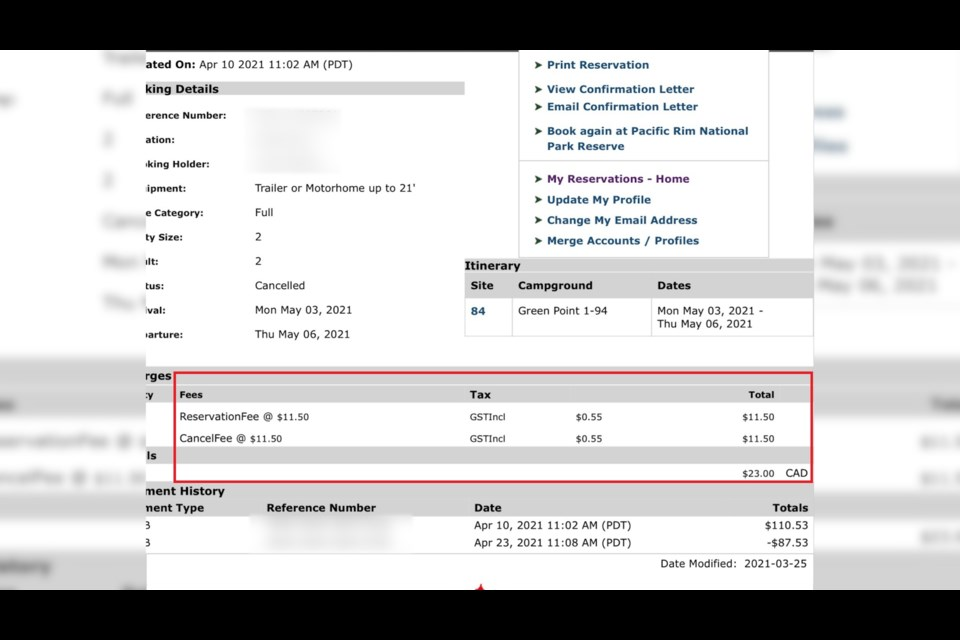 A screenshot of a reservation made by a Kamloops resident who was charged with a cancellation fee for following the new travel order.