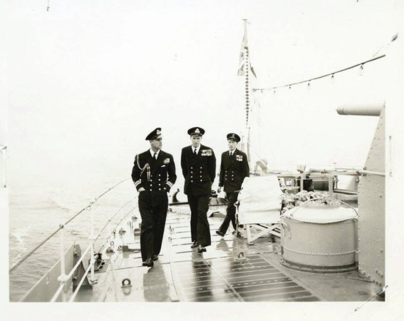 Prince Philip aboard HMCS Crusader making the trip from Vancouver to Victoria, Oct. 21, 1951.