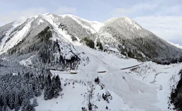 Avalanche control east of Revelstoke. Ministry of Transportation