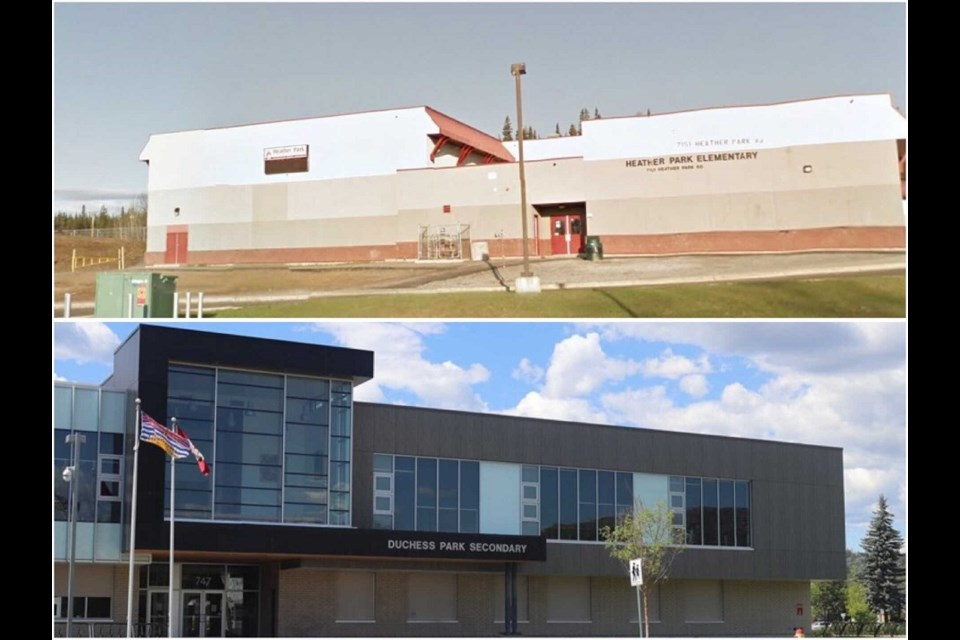 Prince George's Heather Park Elementary (above) and Duchess Park Secondary were both alerted for COVID-19 exposure events by Northern Health on March 29, 2021.