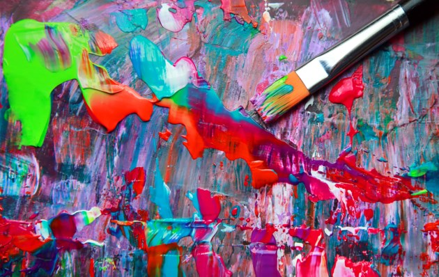 Paintbrush with paint