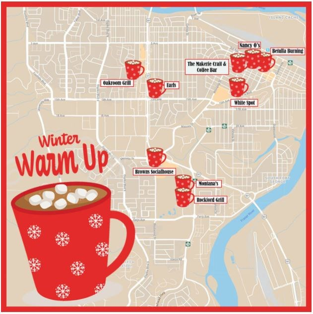 Big Brothers Big Sisters of Northern BC Winter Warm Up updated map - Jan. 27, 2021