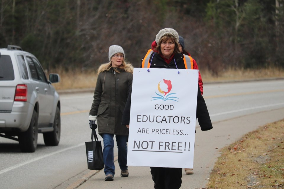 UNBC Faculty Association members went to the picket lines on Nov. 7, 2019 in response to negotiations with the university (via Kyle Balzer)