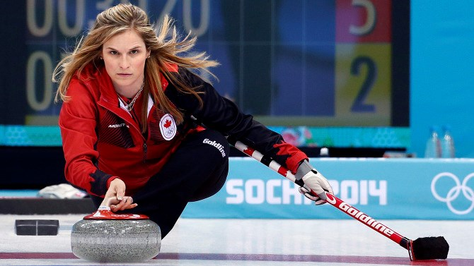 Jennifer Jones curling for Team Canada at the Sochi 2014 Winter Olympics (via The Canadian Press)